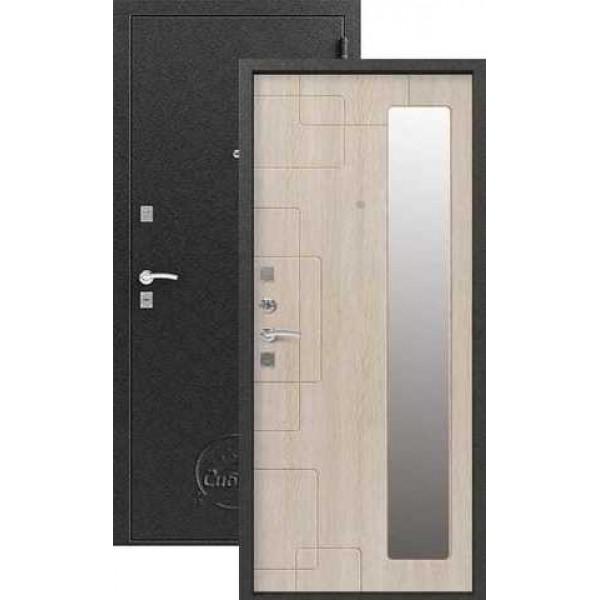 Дверь стальная Сибирь S-6(серебо-белый дуб зеркало), 2 замка сталь 1,0 мм.