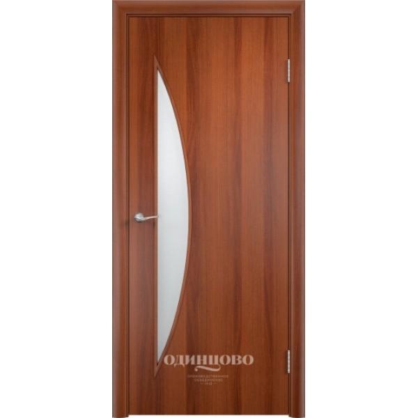 Дверь ламинированная,С-6, итальянский орех, стекло матовое, Верда.