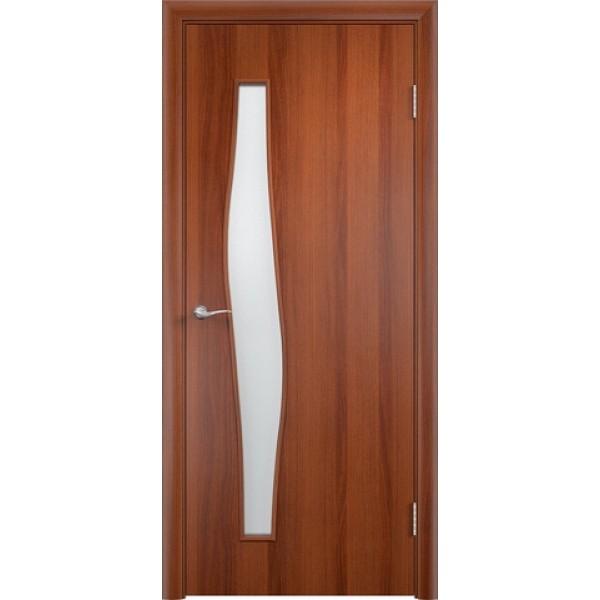 Дверь ламинированная,С-10, итальянский орех, стекло матовое, Верда.