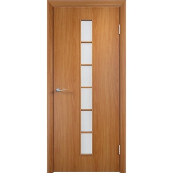 Дверь ламинированная,С-12, миланский орех, стекло матовое. Верда.