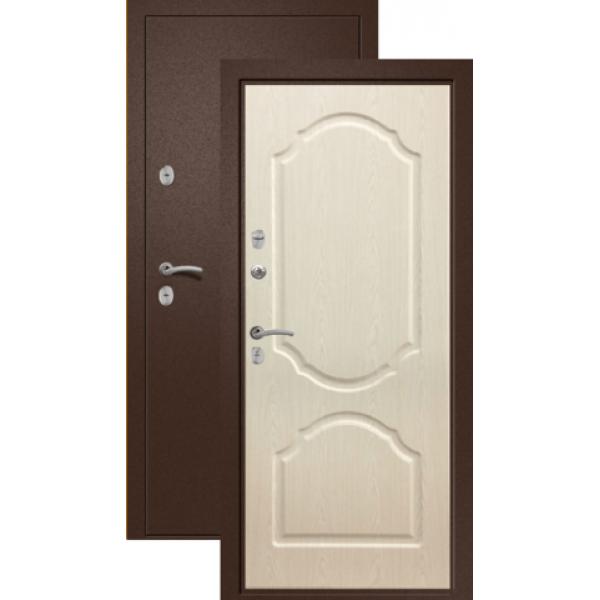 Входная дверь Ретвизан Триера2 (медь-дуб беленый) сталь 1.5мм 2 замка полотно 96мм
